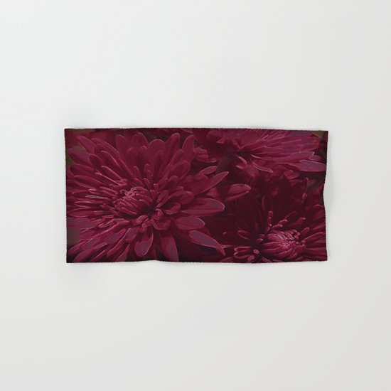 Burgundy Chrysanthemums Hand & Bath Towel
