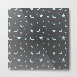 Grey background with blue moon and star pattern Metal Print