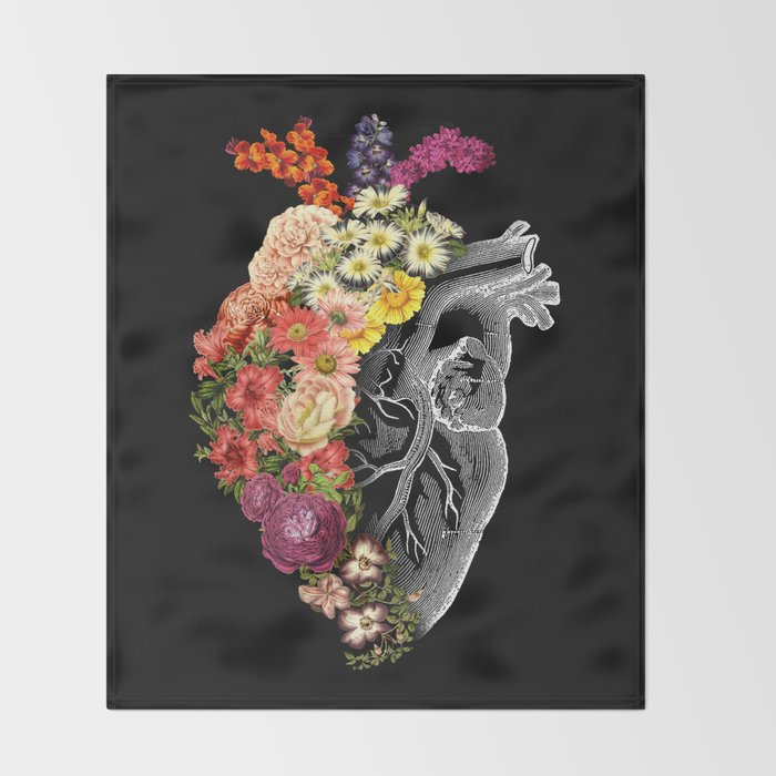Flower Heart Spring Throw Blanket
