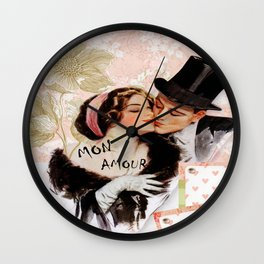 Vintage MON Amour Couple Wall Clock