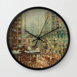 Northeast Village Snowfall Wall Clock