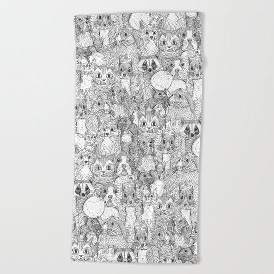 crazy cross stitch critters Beach Towel