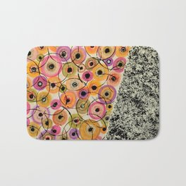 Circles and Flowers- Yellow Bath Mat