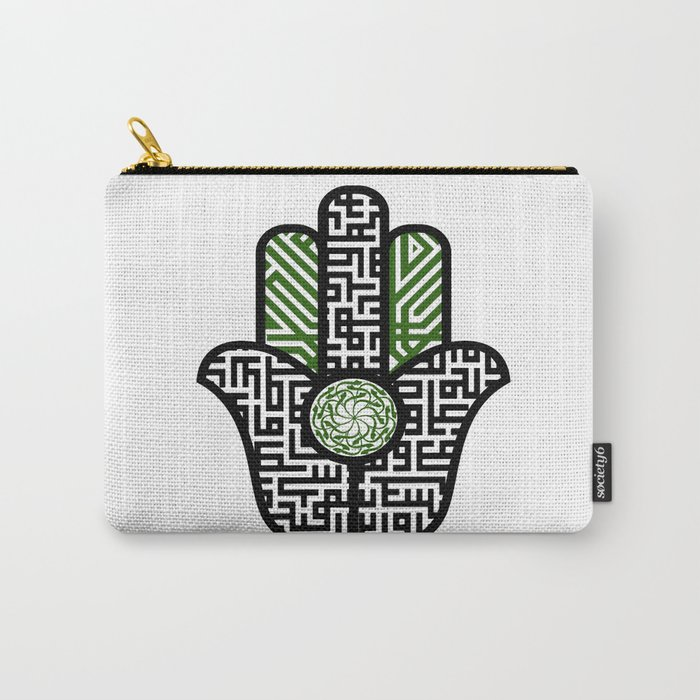 hamsa calligraphy -green Carry-All Pouch
