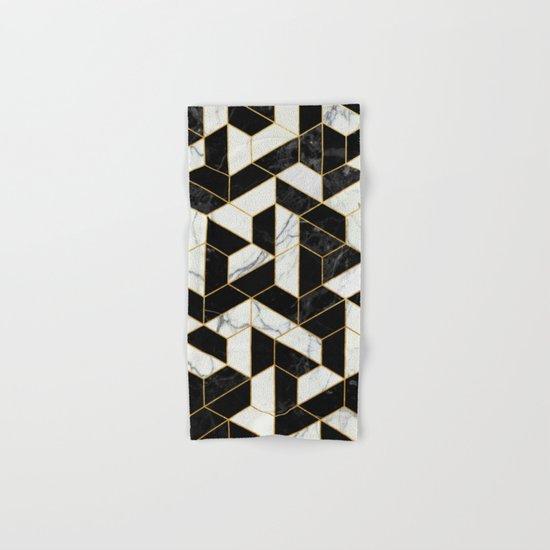 Black and White Marble Hexagonal Pattern Hand & Bath Towel