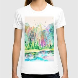 Joyful City Silhouettes With Watercolor Stains T-shirt
