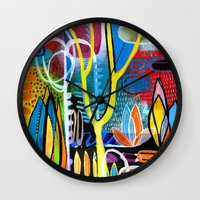 mid century Wall Clocks featuring Mid Century Modern Landscape by Rookery Design