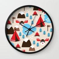 scandinavian Wall Clocks featuring Scandinavian retro moose pattern by Little Smilemakers Studio