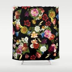 Flowery (black version) Shower Curtain