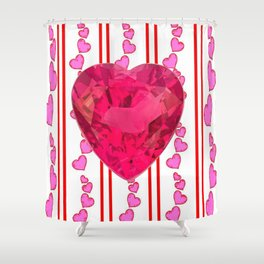 PINK JEWELED PINK VALENTINE HEARTS  DESIGN Shower Curtain