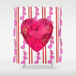 PINK JEWELED PINK VALENTINE HEARTS  DESIGN Shower Curtain