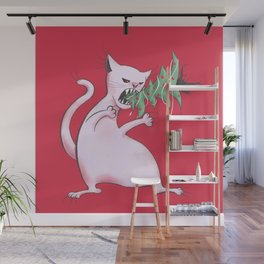 Funny Fat White Cat Eats Christmas Tree Wall Mural