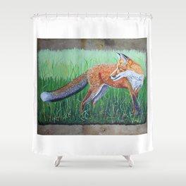 Red Fox on Barn Slate Shower Curtain