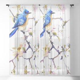 Bluebird and Dogwood, bird and flowers spring colors spring bird songbird design Sheer Curtain