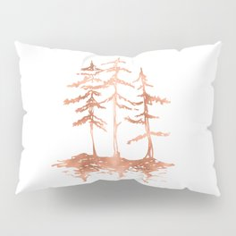 Three Sisters Trees Rose Gold on White Pillow Sham