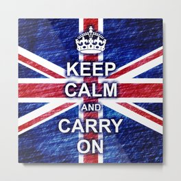 Keep Calm and Carry On Pastel Sketch Metal Print