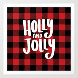 Holly and Jolly Christmas Buffalo Plaid Art Print