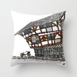 English Tudor Building Throw Pillow