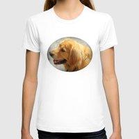 golden retriever T-shirts featuring Happy Golden Retriever  by MyLove4Art