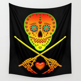 Neon Sugar Skull Drummer. Wall Tapestry