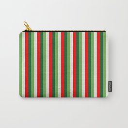 Green, Star White And Red Clover Pinstripes Carry-All Pouch