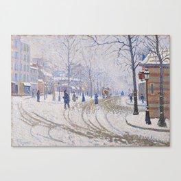 Snow, Boulevard de Clichy, Paris Canvas Print