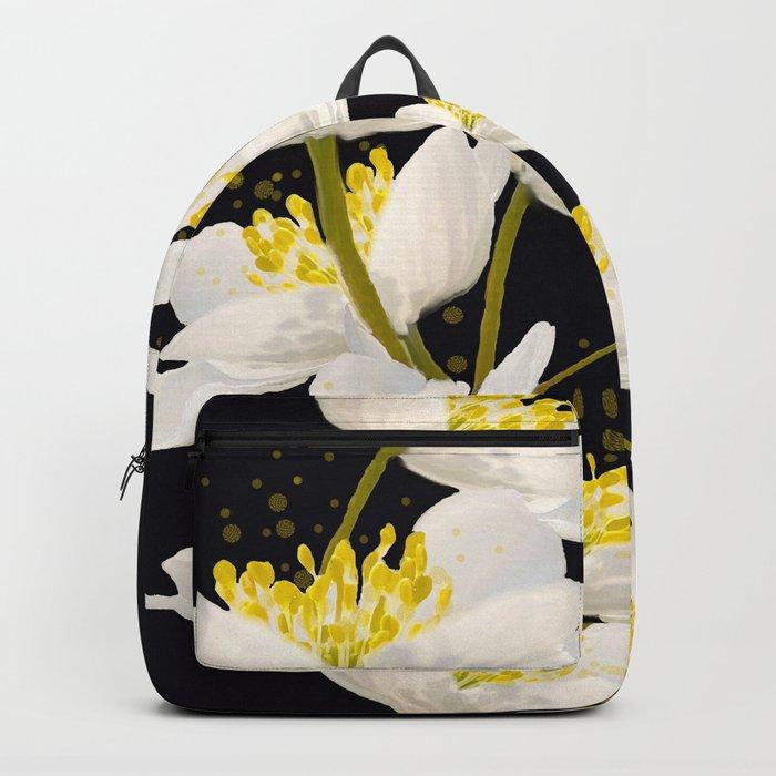 White Flowers On A Black Background #decor #buyart #society6 Backpack