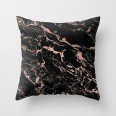 Modern girly faux rose gold foil black marble Throw Pillow