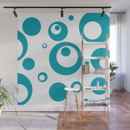 Circles Dots Bubbles :: Turquoise Inverse Wall Mural