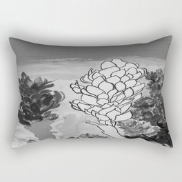 Alpinia purpurata – Red Ginger Flower - Black and White Greyscale Rectangular Pillow