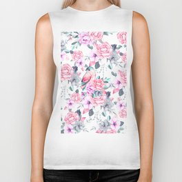 Hand painted pink lavender purple watercolor bird floral Biker Tank