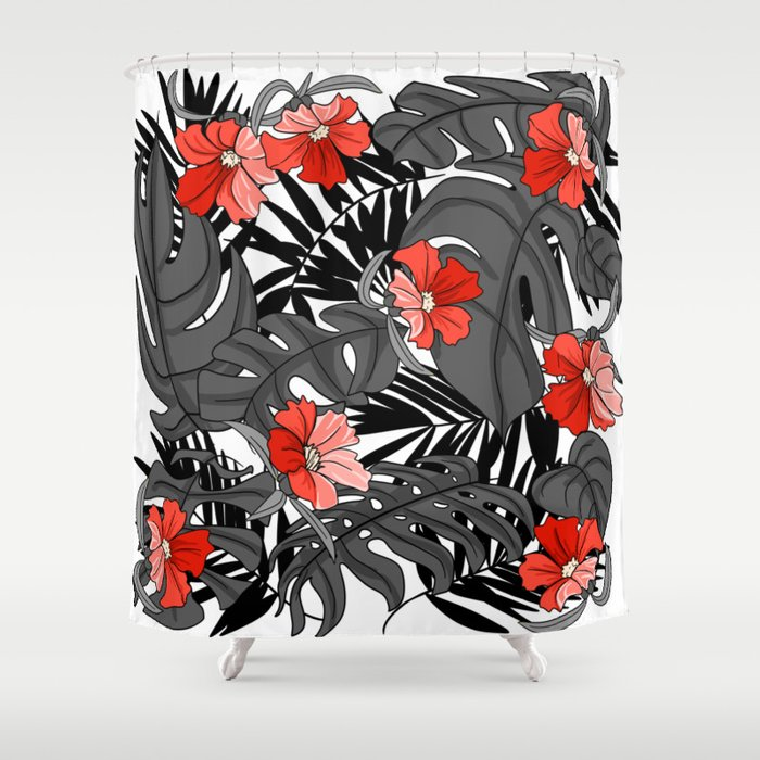 Tropical Flower Pattern - Black and White Shower Curtain