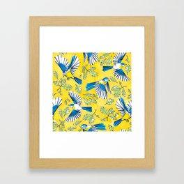 Flying Birds and Oak Leaves on Yellow Framed Art Print