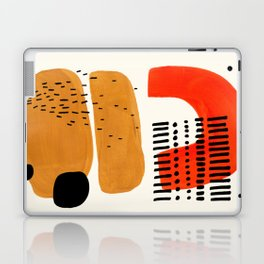 Mid Century Modern Abstract Minimalist Retro Vintage Style Fun Playful Ochre Yellow Ochre Orange Sha Laptop & iPad Skin