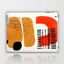 Mid Century Modern Abstract Minimalist Retro Vintage Style Fun Playful Ochre Yellow Ochre Orange  Laptop & iPad Skin
