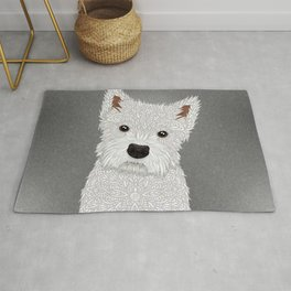 Cute West Highland Terrier Portrait Rug