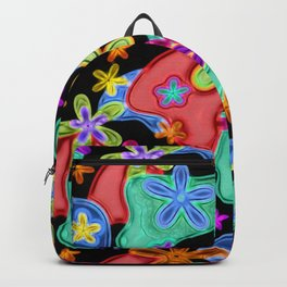 Colorful Retro Flowers Fractalius Pattern Backpack