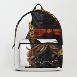Digital painting of hipster black Thai Ridgeback dog. Backpack
