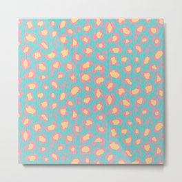 Leopard Baby - Pink and  Blue Metal Print