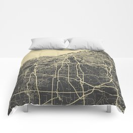 Cleveland map yellow Comforters
