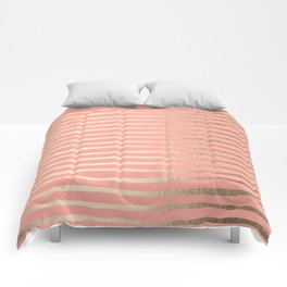 Abstract Stripes Gold Coral Pink Comforters