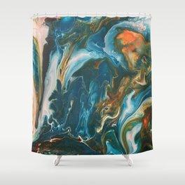 Teal Granite Shower Curtain