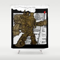 transformer Shower Curtains featuring Engine 93 (On Track) by Creature-Bot