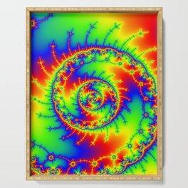 """""""Psyspiral"""" Psychedelic Spiral Fractal Art Serving Tray"""