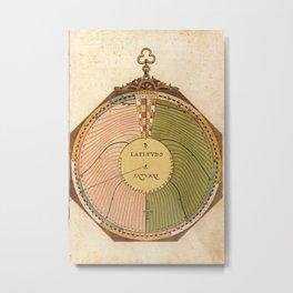Peter Apian - Astronomicum Caesareum 1540 - Plate 4 Position of Saturn on the Ecliptic Metal Print