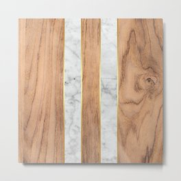 Wood Grain Stripes White Marble #497 Metal Print