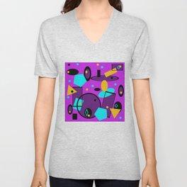Retro abstract print purple violet Unisex V-Neck