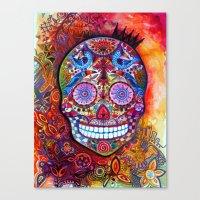 sugar skull Canvas Prints featuring Sugar Skull by oxana zaika