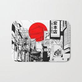 Tokyo street sunrise Bath Mat