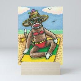 IN A SOCK MONKEY BIKINI Mini Art Print